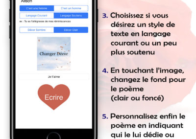 L'application écrit en acrostiche